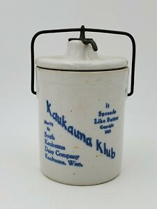 ORIGINAL VTG Kaukauna Klub Dairy/Cheese Wisconsin Butter Cream Crock & Lid GREAT