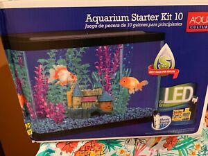 Aqua Culture Aquarium Starter Kit - 10-Gallon Glass LED aquarium with filter
