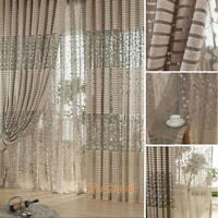 Room Door Luxury Drape Panel Sheer Window Curtain Leaf Tulle Voile Scarf Valance