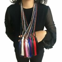 Elegant Women Silk Tassel Crystal Long Necklace Silver Chain Statement Party Hot