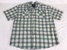 ROCAWEAR Shirt Mens Big&Tall Size 4XL Teal/Orange Cotton Short Sleeve~A2