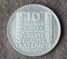 Monnaie France pièce 10 francs ARGENT Turin 1938 Silver coin 2 RARE rameaux long