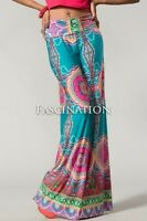 Womens New Hot Fashion Trend Popular Wide Leg PALAZZO Pants Teal & Pink  S~M~L