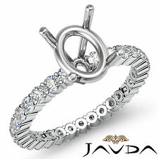Shared Prong Setting Diamond Wedding Ring 18k White Gold Oval Semi Mount 0.9Ct