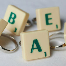 FUNKY UNIQUE SCRABBLE GREEN LETTER TILE RING GIFT