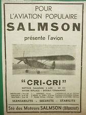 1936 PUB SALMSON MOTEURS AVIATION AVION BIPLACE CRI-CRI MOTEUR SALMSON 9 ADR AD