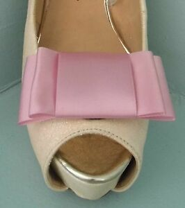 2 Dusky Pink Large Satin Double Bow Clips for Shoes - other colours on request