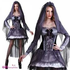 Ladies Dark Bride Costume Adult Halloween Zombie Corpse Bride Fancy Dress Outfit