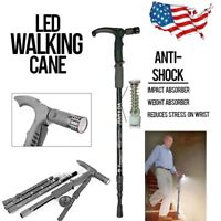 Walking Cane/Trekking pole w/ LED Light Telescopic Anti shock Compass