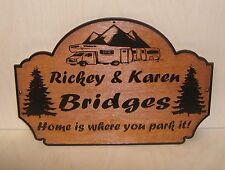 Personalized Wood Sign.Family Name Any text Camp Camper RV Laser engraved.Gift.