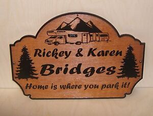 Personalized Family Name Any text Wood Sign Camp Camper RV Laser engraved. Gif.