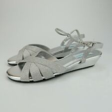 Dyeables Emma Womens Silver Glitter Ankle Strap Wedge Sandals Size 11 M
