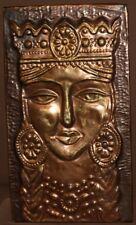 Vintage hand made copper wall decor plaque woman portrait