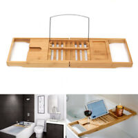 Expandable Bathtub Rack Caddy Bamboo Wood Shelf Shower Book Table Tray Holder
