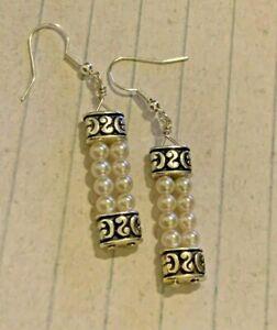 Brighton Lady Jane Silver Scrollwork & Ivory Pearl Beads Custom Earrings