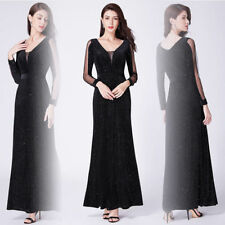 Ever-Pretty US Long Formal Dresses V-Neck Black Gown Glitter Evening Dress 07394