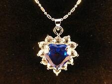 Cristales Austriacos 18 K oro blanco plateado, azul profundo corazón Blanco Y Collar De Cristal