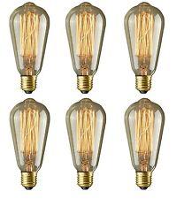 370 Lumens Vintage Thomas Edison Light Bulbs Squirrel Cage 6 Pack Lightbulbs New