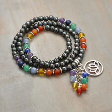 "22"" Long 7 Chakra Multi Strand Gemstone Bracelet or Necklace, Lotus Charm, Reiki"