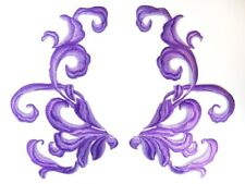 """Purple Embroidered Appliques Dance Costume Mirror Pairs Patch 11"""" GB289X"""