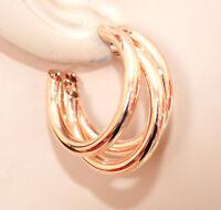 BOUCLES d'oreilles femme OR ROSE cercles métal brillants pendantes bijoux BB49