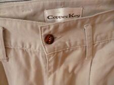 Women's Copper Key pants jeans beige tan pleated belt loops cuffs cotton size 3