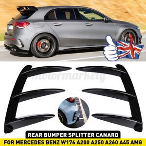 2x Rear Bumper Splitter Canard Trim For Mercedes-Benz A Class W176 A200 A250 UK