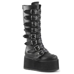 Demonia Damned-318 Platform Boots Womens Knee Black Vegan Gothic Punk Goth Wedge
