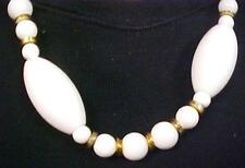 Necklace West Germany White Bead Gold Spacer Casual Dressy Jewelry Vintage