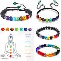 7 Chakra Healing Natural Beaded Lava Stone Bracelet Diffuser Bangle Adjustable