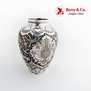Ornate Repousse Vase Animals Birds Floral Decorations Persian Silver 1920