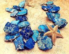 Blue Jasper Chunky Necklace Freeform Stone Statement Jewelry Gold Starfish Pin