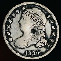 1834 Capped Bust Dime 10C Large 4 High Grade Details Good Silver US Coin CC6855
