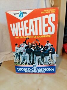 Minnesota Twins 1987 World Series Champs Wheaties Cereal Box Unopened