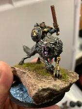 Warhammer 40K Space Wolves painted Thunderwolf Cavalry / Captain