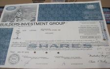 1972 Builders Investment Group OLD CANCELED stock CERTIFICATE