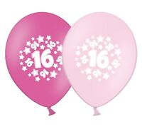 """number 16 - stars -  12""""  Pink Assortment Latex Balloons pack of 5"""