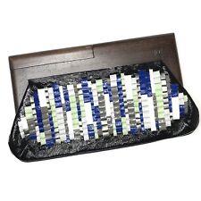 Rafe for Tibi weave colorful Dark Wood Clutch Bag