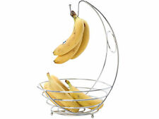 2 in 1 Chrome Banana Hanger Fruit Bowl Tree Holder Storage Basket Stand Hook