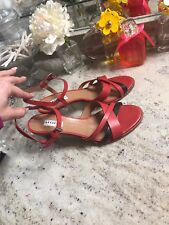 FRATELLI ROSSETTI Red Leather High Heel Slingback Wedge Pump 10-40 $430