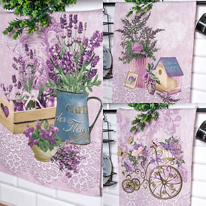 3er Set 70x45cm Leinen Optik Geschirrtücher Teetücher Lavendel Blumen Design