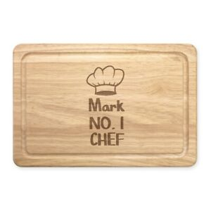 Personalised Name No.1 Chef Hat Rectangular Wooden Chopping Board Custom