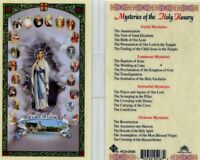 Mysteries of Holy Rosary Our Lady of Lourdes Prayer Holy Card Laminated HC9-056E