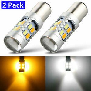 2x 1157 LED White/Amber DRL Switchback Turn Signal Parking Light Bulb
