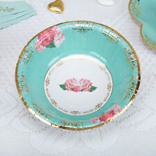8 x Vintage Style Tea Party Paper Bowls Shabby Chic Rose Buffet Wedding Dishes