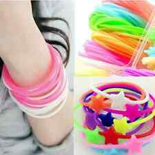 Lots 10pcs Luminous Neon Silicone Gummy Loom Rubber Hair band Wristband Bracelet