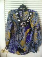 Sioni Amazing Gem Encrusted U-Neck Paisley Print Long Sleeve Top, Small