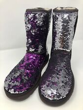 UGG CLASSIC SHORT SEQUIN SILVER PURPLE BOOTS WOMENS SIZE 7