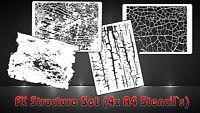 4er Struktur Effekt Hintergrund Airbrush Schablonen SET - FX Structure Stencils