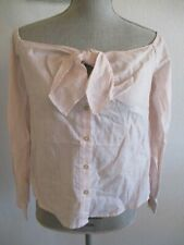 NWT FREE PEOPLE WHITE W/SOFT PINK STRIPE OFF SHOULDER BUTTON DOWN BLOUSE $78.